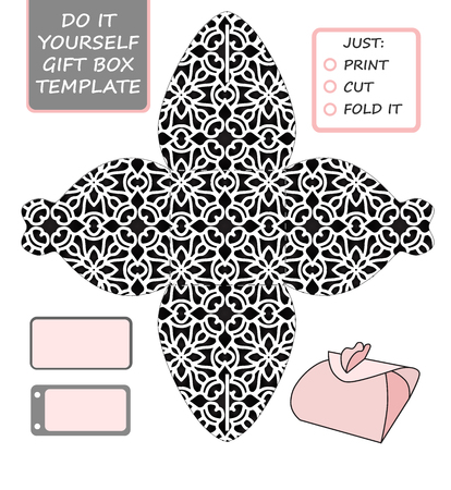 Cut out box template for birthday gift Reklamní fotografie - 94263585