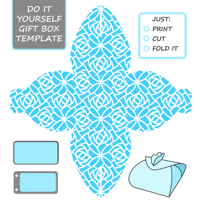 Cut out box template for birthday gift Banco de Imagens - 94263588