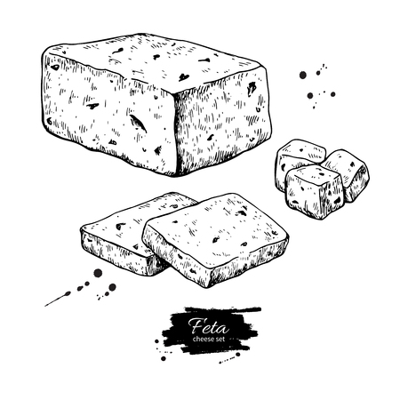 Greek feta cheese block drawing. Vector hand drawn food sketch.