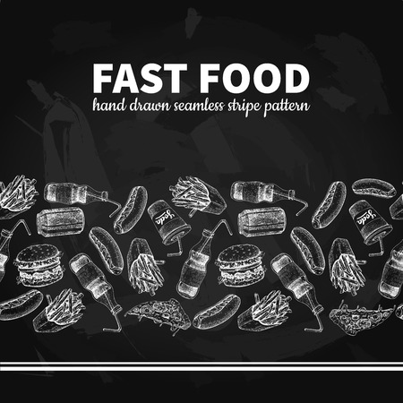 Fast food vector  seamless stripe pattern. Hand drawn blackboard