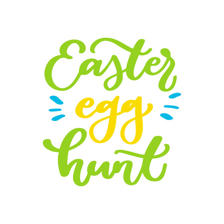 Easter egg hunt vector lettering. Hand drawn easter greeting car