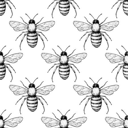 ビーベクトルシームレスパターン。手描きの昆虫の背景。