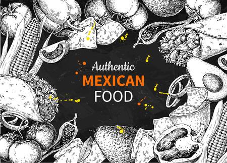 フレーム内のメキシコの食品スケッチラベル。