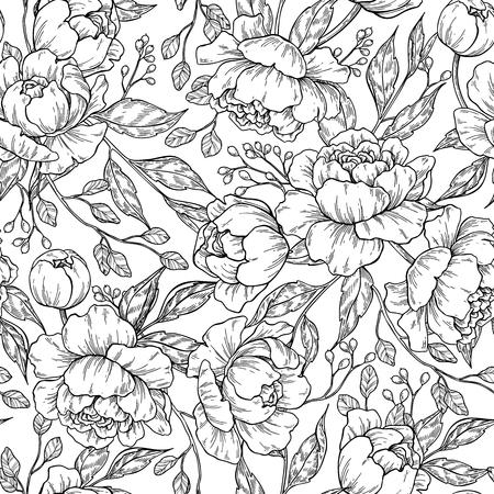 모란 꽃 원활한 패턴 그리기. 벡터 손으로 그린 오목 스톡 콘텐츠 - 97873321