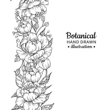 花のシームレスなヴィンテージボーダー。ベクター牡丹とバラの植物