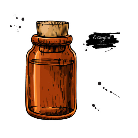 Essential oil glass bottle hand drawn vector illustration.
