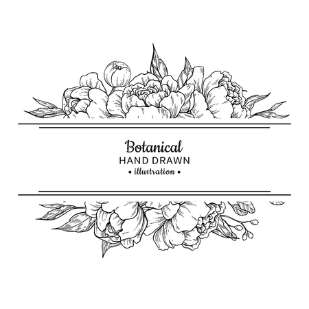 Flower vintage border with peony and roses botanical drawing in black and white Illustration. Vettoriali