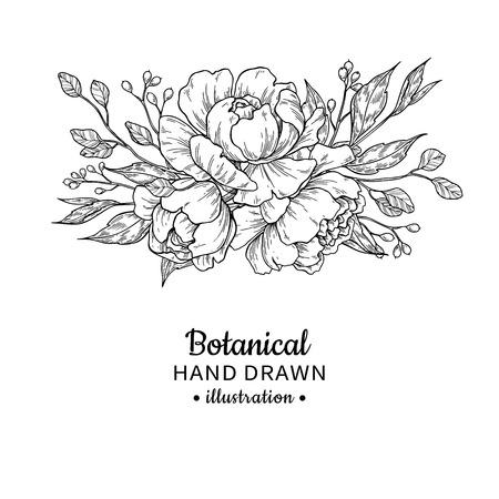 Bouquet di fiori vintage Disegno vettoriale. Peonia, rosa, foglie su sfondo bianco.