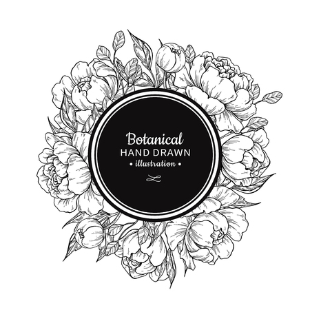 Flower vintage vector frame drawing. Peony, rose, leaves and berry sketch wreath. Engraved botanical bouquet. Hand drawn floral wedding invitation, label template, anniversary card. Vettoriali