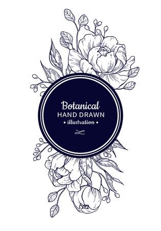Vintage flower vector frame drawing. Peony, rose, leaves and ber Vektoros illusztráció