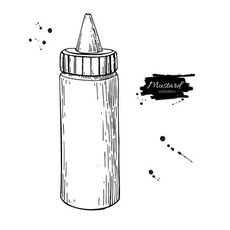 Mustard, ketchup or mayonnaise sauce bottle. Vector drawing. Foo