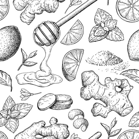 Honey, ginger, lemon and mint vector seamless pattern drawing. Wooden spoon, hearb and fruit sketch. Engraved illustration with tea ingredient, alternative medicine. Label, packaging design.