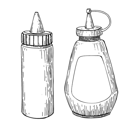 Ketchup and mustard sauce bottle.