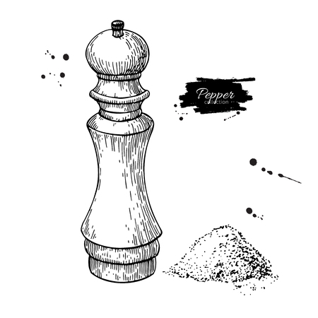 Dibujo vectorial de molino de sal y pimienta. Bosquejo del molinillo de condimentos y especias. Coctelera de pimienta negra. Ingrediente de cocción y acompañamiento. Envase de especias de alimentos dibujados a mano. Herramienta de cocina Ilustración de vector