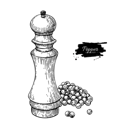 Pepper mill with heap of peppercorn vector drawing. Seasoning and spice grinder sketch.