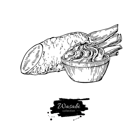 Wasabi root slice with sauce in bowl vector drawing. Hand drawn sushi ingredient sketch. Stock Photo