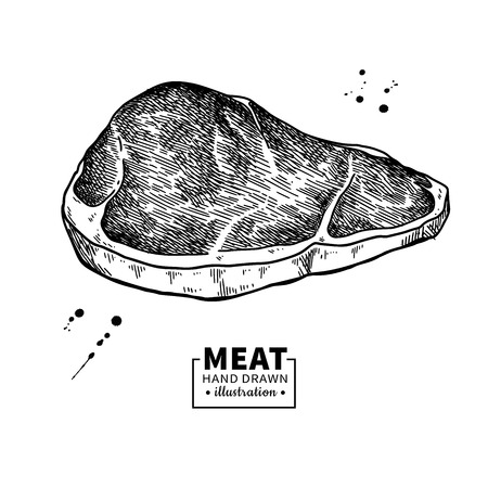 Sirloin steak vector drawing. Red meat hand drawn sketch. Engraved food illustration. Иллюстрация