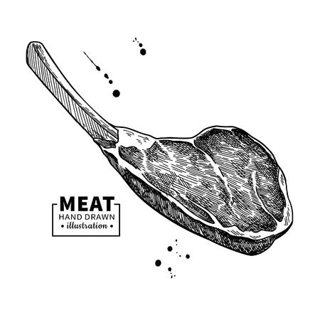 Prime rib disegno vettoriale. Manzo, maiale o agnello Schizzo disegnato a mano di carne rossa.