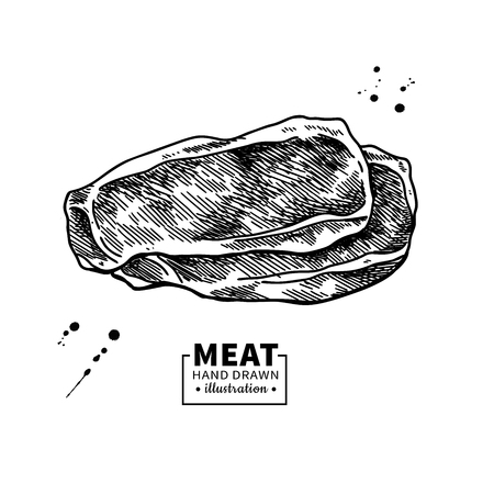 Ham slice vector drawing. Hand drawn hamon or pork meat illustration. Italian prosciutto  イラスト・ベクター素材