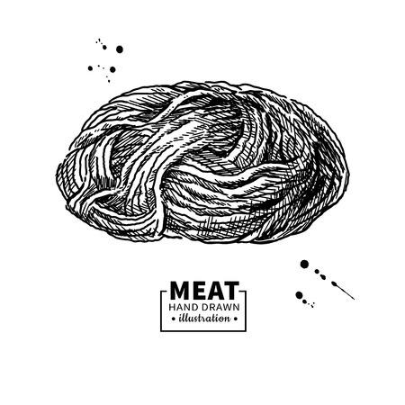 Disegno vettoriale di carne macinata. Manzo macinato disegnato a mano, maiale, carne di pollo. Vettoriali