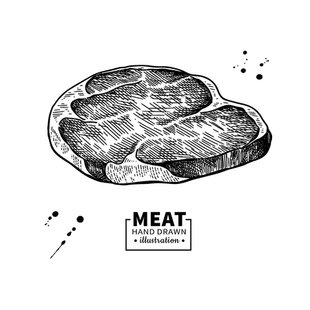 Raw beef steak vector drawing. Red meat hand drawn sketch. Engraved food illustration. Vintage object. Butcher shop product. Great for label, restaurant, barbecue menu