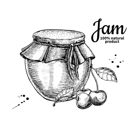 Cherry jam glass jar vector drawing.  Fruit Jelly and marmalade.