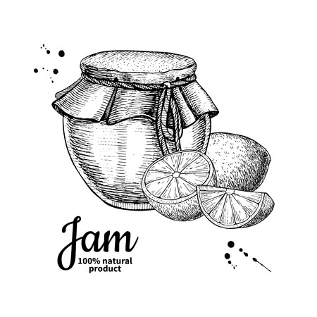 Lemon jam glass jar vector drawing.  Fruit Jelly and marmalade.