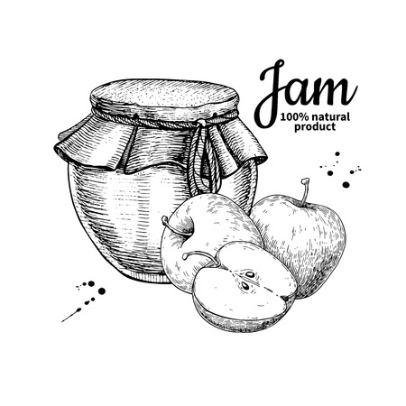 Apple jam glass jar vector drawing.  Fruit Jelly and marmalade. Banco de Imagens