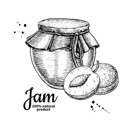 Plum jam glass jar vector drawing.  Fruit Jelly and marmalade.