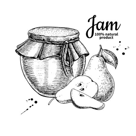 Pear jam glass jar vector drawing.  Fruit Jelly and marmalade.