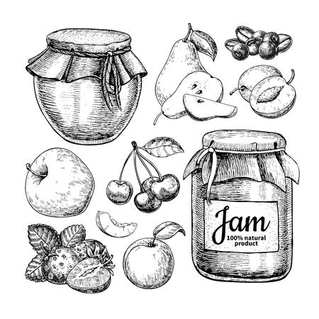 Dessin vectoriel de pot de verre de confiture de fruits. Gelée et marmelade avec str