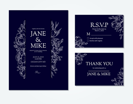 Dark blue wedding invitation card template with vector peony and roses. Botanical drawing. Isolated sketch. Engraved bouquet with leaves and berries. Save the date template, anniversary card design