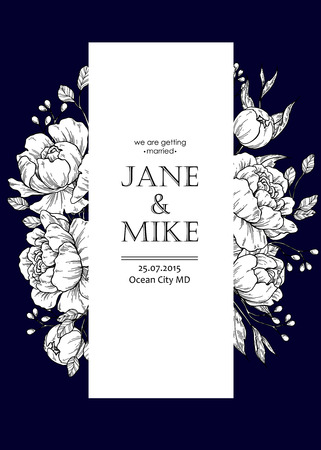 Dark blue wedding invitation card template with vector peony and roses.