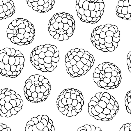 Raspberry seamless pattern. Vector drawing. Isolated berry sketch on white background.