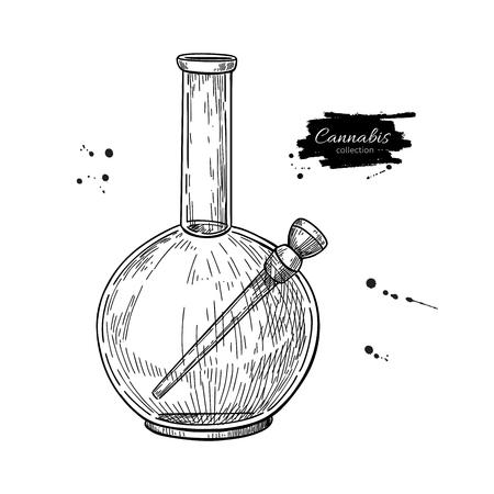 Bong for cannabis. Vector drawing. Marijuana smoking equipment sketch. Hand drawn engraving illustration. Design element for label, emblem, sign, shop, Stock Vector - 111551927