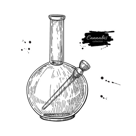 Bong for cannabis. Vector drawing. Marijuana smoking equipment sketch. Hand