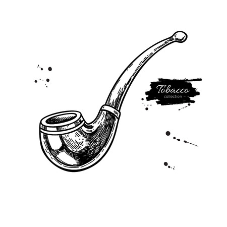 Tobacco Pipe vector drawing. Hand drawn vintage smoking equipment. Isolated sketch object. Engraved style illustration for shop label, emblem, sign, packaging.