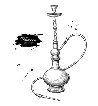 Hookah vector drawing. Hand drawn vintage shisha illustration. S  イラスト・ベクター素材