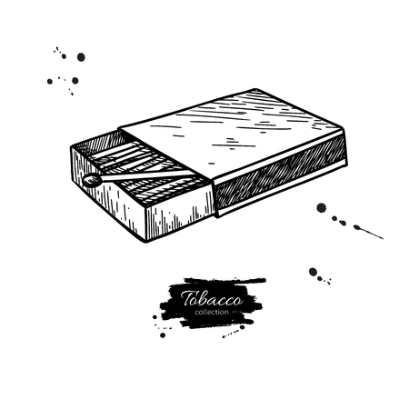 Dessin vectoriel de boîte d'allumettes. Illustration de boîte d'allumettes dessinées à la main. Objet de croquis isolé. Icône vintage. Idéal pour l'étiquette de magasin, l'emblème, le signe, l'emballage Vecteurs