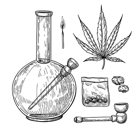 Marijuana or cannabis vector drawing set. Plant leaf, bong, pipe, buds in plastic bag sketch. Smoking weed equipment. Engraved hand drawn objects for shop label, packaging design.