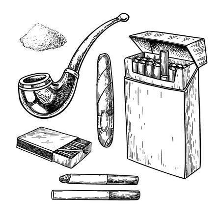 Insieme del disegno di vettore di fumo di tabacco. Pacchetto di sigarette, sigaro, scatola di fiammiferi, schizzo di pipa. Elemento fumatore. Oggetto inciso isolato. Icona dell'annata. Ottimo per l'etichetta del negozio, l'emblema, la confezione del segno