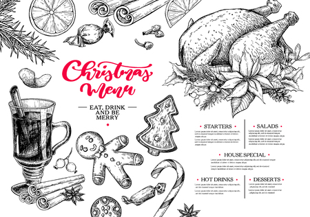 Christmas menu. Winter restaurant and cafe sketch template. Vector hand drawn illustration with holly, mistletoe, poinsettia, pine cone, mulled wine, fir tree. Engraved traditional xmas food. Illustration
