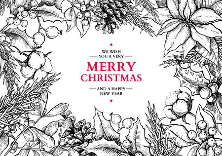 Carta cornice di Natale Illustrazione disegnata a mano di vettore con agrifoglio, vischio, stella di Natale, pigna, cotone, abete. Elemento di decorazione natalizia tradizionale inciso. Ottimo per biglietto di auguri e invito, banner per le vacanze Vettoriali