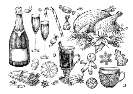 Christmas traditional food and drink set. Holiday treats vector drawing. New Year festive sweets. Mulled wine, turkey, champagne, gingerbread cookie, candy and spices. Hand drawn dinner icons Çizim