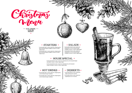 Christmas menu. Winter restaurant and cafe sketch template. Vector hand drawn illustration with pine cone, mulled wine, fir tree, ball toys, spices. Engraved traditional xmas food and drink. Illustration