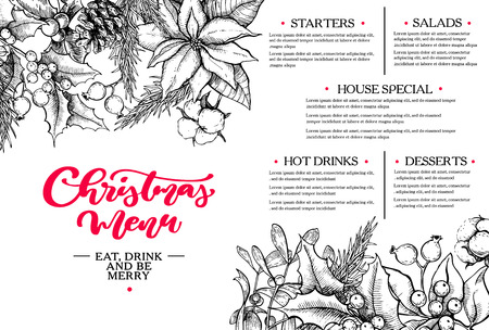 Christmas menu. Botanical restaurant and cafe template. Vector hand drawn illustration with holly, mistletoe, poinsettia, pine cone, cotton, fir tree. Engraved traditional xmas botanical decoration. Vettoriali