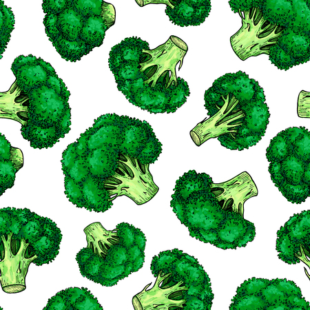 Broccoli hand drawn vector seamless pattern. Vegetable  illustra Stock Illustratie