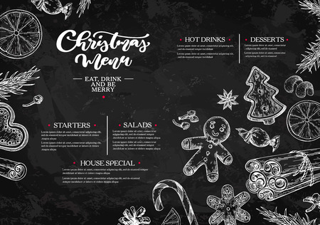 Christmas menu. Chalkboard restaurant and cafe template