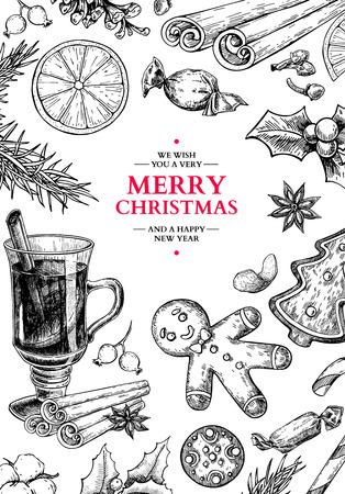 Christmas holiday greeting card. Vector hand drawn illustration Illustration