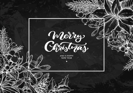 Christmas wreath frame. Vector hand drawn illustration Holly, mi